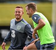 31 August 2015; Adam Rooney and Glenn Whelan, Republic of Ireland, during squad training. Republic of Ireland Squad Training, Abbotstown, Co. Dublin. Picture credit: David Maher / SPORTSFILE