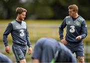 31 August 2015; Eunan O'Kane and James McCarthy, Republic of Ireland, during squad training. Republic of Ireland Squad Training, Abbotstown, Co. Dublin. Picture credit: David Maher / SPORTSFILE