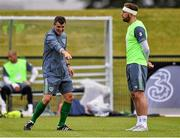 31 August 2015; Republic of Ireland assistant manager Roy Keane with Richard Keogh, during squad training. Republic of Ireland Squad Training, Abbotstown, Co. Dublin. Picture credit: David Maher / SPORTSFILE