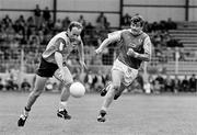 2 June 1991; Tommy Carr, Dublin, in action against Colm O'Rourke, Meath. Leinster Football Championship, Dublin v Meath, Croke Park, Dublin. Picture credit: Ray McManus / SPORTSFILE