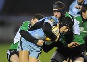 6 March 2009; Tom James, Cardiff Blues, is tackled by Keith Matthews and David Gannon, Connacht. Magners League, Connacht v Cardiff Blues, Sportsground, Galway. Picture credit: Matt Browne / SPORTSFILE