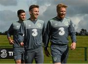 1 September 2015; Republic of Ireland players Kevin Doyle, centre, with Shane Long and Paul McShane, right, during squad training. Republic of Ireland Squad Training, Abbotstown, Co. Dublin. Picture credit: David Maher / SPORTSFILE