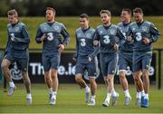 1 September 2015; Republic of Ireland players, from left, James McClean, Adam Rooney, Seamus Coleman, Eunan O'Kane, James McCarthy and Aiden McGeady in action during squad training. Republic of Ireland Squad Training, Abbotstown, Co. Dublin. Picture credit: David Maher / SPORTSFILE