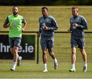 1 September 2015; Republic of Ireland players, from left, Marc Wilson, Cyrus Christie and Adam Rooney during squad training. Republic of Ireland Squad Training, Abbotstown, Co. Dublin. Picture credit: David Maher / SPORTSFILE