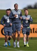 1 September 2015; Republic of Ireland's John O'Shea, with Glenn Whelan and Stephen Quinn, during squad training. Republic of Ireland Squad Training, Abbotstown, Co. Dublin. Picture credit: David Maher / SPORTSFILE