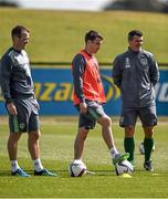 1 September 2015; Roy Keane, Republic of Ireland assistant manager, with Glenn Whelan and Seamus Coleman during squad training. Republic of Ireland Squad Training, Abbotstown, Co. Dublin. Picture credit: David Maher / SPORTSFILE