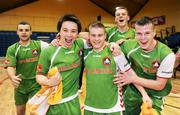 8 March 2009; Cork City players, from left, Gavin Walsh, Wesley Tong, Craig Duggan, Ian Turner and Kevin Long celebrate after their side's victory over St. Patrick's Athletic. Futsal League of Ireland Final, St. Patrick's Athletic v Cork City. National Basketball Arena, Dublin. Picture credit: Stephen McCarthy / SPORTSFILE