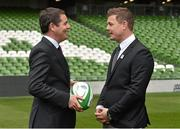 2 August 2015; Paschal Donohoe TD, Minister for Transport, Tourism and Sport, Dublin Central, talks to Brian O'Driscoll, Irish rugby legend and IRFU Bid Ambassador. Rugby World Cup 2023 Oversight Board Meeting. Aviva Stadium, Lansdowne Road, Dublin. Picture credit: Cody Glenn / SPORTSFILE