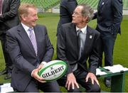 2 August 2015; An Taoiseach Enda Kenny TD, left, with Dick Spring, Chairman of the Rugby World Cup 2023 Oversight Board, before a group photograph. Rugby World Cup 2023 Oversight Board Meeting. Aviva Stadium, Lansdowne Road, Dublin. Picture credit: Cody Glenn / SPORTSFILE