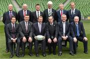 2 August 2015; Members of the Rugby World Cup 2023 Oversight Board, back row, from left to right, Padraig Slattery, Executive Chairman, PSG Communications Group, Shane Logan, CEO, Ulster Rugby, Brian O'Driscoll, Irish rugby legend and Bid Ambassador, Tom Grace, former Irish International and Lion, current Chairman of the Lions Board and Honorary Treasurer IRFU, Páraic Duffy, Director General GAA, and Hugo MacNeill, former Irish rugby international. Front row, from left to right, Paschal Donohoe, Minister for Transport, Tourism and Sport, Dublin Central, Philip Browne, IRFU Chief Executive, Taoiseach Enda Kenny TD, Dick Spring, Chairman of the Oversight Board, Jonathan Bell, Minister of Enterprise, Trade and Investment, Northern Ireland, and Michael Ring TD, Minister of State at the Department of Transport, Tourism and Sport. Rugby World Cup 2023 Oversight Board Meeting. Aviva Stadium, Lansdowne Road, Dublin. Picture credit: Cody Glenn / SPORTSFILE