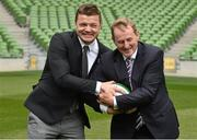 2 August 2015; An Taoiseach Enda Kenny TD, with Irish rugby legend Brian O'Driscoll. Rugby World Cup 2023 Oversight Board Meeting. Aviva Stadium, Lansdowne Road, Dublin. Picture credit: Cody Glenn / SPORTSFILE