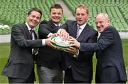 2 August 2015; Paschal Donohoe TD, left, Minister for Transport, Tourism and Sport representing Dublin Central, with left to right, Irish Rugby legend and IRFU Bid Ambassador Brian O'Driscoll, An Taoiseach Enda Kenny TD, and Michael Ring, Minister of State at the Department of Transport, Tourism and Sport, share a joke. Rugby World Cup 2023 Oversight Board Meeting. Aviva Stadium, Lansdowne Road, Dublin. Picture credit: Cody Glenn / SPORTSFILE Picture credit: Cody Glenn / SPORTSFILE