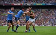 30 August 2015; Aidan O'Shea, Mayo, in action against Dublin players, from left, James McCarthy, Cian O'Sullivan and Philly McMahon. GAA Football All-Ireland Senior Championship, Semi-Final, Dublin v Mayo, Croke Park, Dublin. Picture credit: Brendan Moran / SPORTSFILE