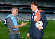 2 August 2015; Líofa points the way at Croke Park. Pictured are Bernard Dunne, former champion boxer, with Armagh footballer Charlie Vernon at the Líofa launch in Croke Park. Picture credit: Piaras Ó Mídheach / SPORTSFILE