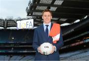 2 August 2015; Líofa points the way at Croke Park. Pictured is Armagh footballer Charlie Vernon at the Líofa launch in Croke Park. Picture credit: Piaras Ó Mídheach / SPORTSFILE