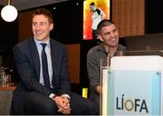 2 August 2015; Líofa points the way at Croke Park. Former champion boxer Bernard Dunne with Armagh footballer Charlie Vernon at the Líofa launch in Croke Park. Picture credit: Piaras Ó Mídheach / SPORTSFILE
