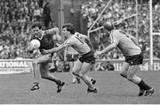 8 September 1985; John Maughan, Mayo, in action against Pat Canavan, left, and Brian Mullins, Dublin. All-Ireland Senior Football Championship Semi Final Replay, Dublin v Mayo, Croke Park, Dublin. Picture credit: Ray McManus / SPORTSFILE