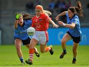 5 September 2015; Lauren McConville, Armagh, in action against Molly Lamb, left, and Sinéad Goldrick, Dublin. TG4 Ladies Football All-Ireland Senior Championship Semi-Final, Armagh v Dublin. Parnell Park, Dublin. Picture credit: Piaras Ó Mídheach / SPORTSFILE