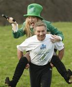 12 March 2009; Over 2,000 are expected at the Annual KBC Asset Management St. Patrick's 5k road race. Register before 11am in the Mansion House. www.kbcam.com. Pictured with athletics legend Eamonn Coghlan is Michelle Costello. Phoenix Park, Dublin. Picture credit: Brian Lawless / SPORTSFILE