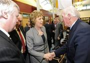 13 March 2009; President Mary McAleese meets former Cavan great, Mick Higgins, who played in the winning Cavan team in the famous 1947 All Ireland final in New York, and captained Cavan to victory in the 1952 All Ireland Final, during the GAA 125 Years History Conference. The conference entitled, 'For Community, Club, County and Country', is a celebration of 125 years of GAA history. Cardinal Ó Fiaich Library & Archive, Armagh. Picture credit: Oliver McVeigh / SPORTSFILE