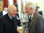 13 March 2009; Former Cavan great Mick Higgins, who played in the winning Cavan team in the famous 1947 All Ireland final in New York, and captained Cavan to victory in the 1952 All Ireland final, talks to Jim McKeever, captain of the Derry team in the 1958 All Ireland final, during the GAA 125 Years History Conference. The conference entitled, 'For Community, Club, County and Country', is a celebration of 125 years of GAA history. Cardinal Ó Fiaich Library & Archive, Armagh. Picture credit: Oliver McVeigh / SPORTSFILE
