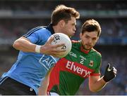 5 September 2015; Dean Rock, Dublin, in action against Ger Cafferkey, Mayo. GAA Football All-Ireland Senior Championship Semi-Final Replay, Dublin v Mayo. Croke Park, Dublin. Picture credit: Ray McManus / SPORTSFILE