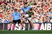 5 September 2015; Lee Keegan, Mayo, in action against Diarmuid Connolly and Jonny Cooper, 2, Dublin. GAA Football All-Ireland Senior Championship Semi-Final Replay, Dublin v Mayo. Croke Park, Dublin. Picture credit: Paul Mohan / SPORTSFILE