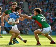 5 September 2015; Diarmuid Connolly, Dublin, is tackled by Aidan O'Shea and Ger Cafferkey, right, Mayo. GAA Football All-Ireland Senior Championship Semi-Final Replay, Dublin v Mayo. Croke Park, Dublin. Picture credit: Ray McManus / SPORTSFILE