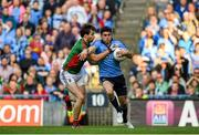 5 September 2015; Bernard Brogan, Dublin, in action against Ger Cafferkey, Mayo. GAA Football All-Ireland Senior Championship Semi-Final Replay, Dublin v Mayo. Croke Park, Dublin. Picture credit: Paul Mohan / SPORTSFILE