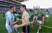 5 September 2015; Diarmuid Connolly, Dublin, shakes hands with Robert Hennelly, Mayo, after the game. GAA Football All-Ireland Senior Championship Semi-Final Replay, Dublin v Mayo. Croke Park, Dublin. Picture credit: Stephen McCarthy / SPORTSFILE