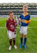 6 September 2015; Eanna Monaghan, left, age 10, from Turloughmore, Co. Galway, and Cian Connolly, age 10, from Nenagh, Co. Tipperary. Electric Ireland GAA Hurling All-Ireland Minor Championship Final, Galway v Tipperary, Croke Park, Dublin. Picture credit: Diarmuid Greene / SPORTSFILE