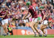 6 September 2015; Cianan Fahy, Galway, shoots to score his side's third goal. Electric Ireland GAA Hurling All-Ireland Minor Championship Final, Galway v Tipperary, Croke Park, Dublin. picture credit: Diarmuid Greene / SPORTSFILE