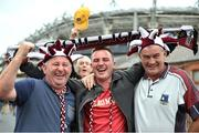 6 September 2015; Galway supporters, from left to right, Tony Roche, Alan Roche and Chris Reynolds, all from Tuam, Co. Galway, make their way to the game on Jones' Road. Supporters at GAA Hurling All-Ireland Minor and Senior Finals, Croke Park, Dublin. Picture credit: Cody Glenn / SPORTSFILE