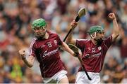6 September 2015; Cianan Fahy, Galway, celebrates scoring his side's third goal alongside teammate Evan Niland. Electric Ireland GAA Hurling All-Ireland Minor Championship Final, Galway v Tipperary, Croke Park, Dublin. Picture credit: Tomás Greally / SPORTSFILE