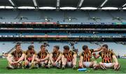 6 September 2015; Kilkenny players, from left to right, Joe Lyng, Padraig Walsh, Cillian Buckley, Conor Fogarty, Paul Murphy, Kieran Joyce and Ger Aylward reflect on their side's victory after the match. GAA Hurling All-Ireland Senior Championship Final, Kilkenny v Galway, Croke Park, Dublin. Picture credit: Seb Daly / SPORTSFILE
