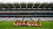 6 September 2015; Kilkenny players, from left to right, Joe Lyng, Padraig Walsh, Cillian Buckley, Conor Fogarty, Paul Murphy, Kieran Joyce and Ger Aylward reflect on their team's victory after the match. GAA Hurling All-Ireland Senior Championship Final, Kilkenny v Galway, Croke Park, Dublin. Picture credit: Seb Daly / SPORTSFILE
