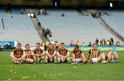 6 September 2015; Kilkenny players, from left to right, Joe Lyng, Padraig Walsh, Cillian Buckley, Conor Fogarty, Paul Murphy, Kieran Joyce, Ger Aylward and Richie Hogan relax on the pitch after victory over Galway. GAA Hurling All-Ireland Senior Championship Final, Kilkenny v Galway, Croke Park, Dublin. Picture credit: Diarmuid Greene / SPORTSFILE