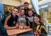 7 September 2015; Kilkenny hurlers, from left, Cillian Buckley, Ger Aylward, Kieran Joyce and Padraig Walsh with Julia McColgan, age 12, from Dublin, and the Liam MacCarthy Cup during a visit from the GAA Hurling All-Ireland Champions Kilkenny to Our Lady's Children's Hospital, Crumlin, Dublin. Picture credit: Stephen McCarthy / SPORTSFILE