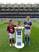 6 September 2015; Eanna Monaghan, left, age 10, from Turloughmore, Co. Galway, and Cian Connolly, age 10, from Nenagh, Co. Tipperary, with the Irish Press cup before the game. Electric Ireland GAA Hurling All-Ireland Minor Championship Final, Galway v Tipperary, Croke Park, Dublin. Picture credit: Diarmuid Greene / SPORTSFILE