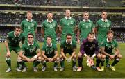 7 September 2015; The Republic of Ireland team; back row, from left, James McCarthy, Jon Walters, John O'Shea, Glenn Whelan and Ciaran Clark; front row, from left, Seamus Coleman, Robbie Brady, Wes Hoolahan, Robbie Keane, Shay Given and Jeff Hendrick. UEFA EURO 2016 Championship Qualifier, Group D, Republic of Ireland v Georgia, Aviva Stadium, Lansdowne Road, Dublin. Picture credit: David Maher / SPORTSFILE