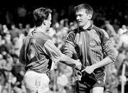 2 June 1991; Meath's Bernard Flynn, left, shakes hands with Dublin goalkeeper John O'Leary after the final whistle. Leinster Football Championship, DUblin v Meath, Croke Park, Dublin. Picture credit: Ray McManus / SPORTSFILE