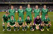 7 September 2015; The Republic of Ireland team; back row, from left, James McCarthy, Jon Walters, John O'Shea, Glenn Whelan and Ciaran Clark; front row, from left, Seamus Coleman, Robbie Brady, Wes Hoolahan, Robbie Keane, Shay Given and Jeff Hendrick. UEFA EURO 2016 Championship Qualifier, Group D, Republic of Ireland v Georgia, Aviva Stadium, Lansdowne Road, Dublin. Picture credit: Cody Glenn / SPORTSFILE