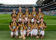 6 September 2015; The Kilkenny boys team; back row, left to right, Caolán O'Neill, Scoil Íosagáin N.S., Buncrana, Co. Donegal, Cian O'Shaughnessy, Ballinakill N.S., Co. Laois, Murrough McMahon, Crusheen N.S., Co. Clare, Cian Mulchrone, Scoil Phádraig, Westport, Co. Mayo, and Mairtín Gannon, Scoil Mhuire Lourdes B.N.S., Mooncoin, Co. Kilkenny; front row, left to right, Oisín Maunsell, Abbeydorney N.S., Tralee, Co. Kerry, Jack Rodgers, St. Corban's B.N.S., Naas, Co. Kildare, Mark Troy, Durrow N.S., Tullamore, Co. Offaly, Niall McGarel, St. John's P.S., Ballymena, Co. Antrim, and Jack McGuinness, St. Felim's, Bailieborough, Co. Cavan, before the Cumann na mBunscoil INTO Respect Exhibition Go Games 2015 at Kilkenny v Galway - GAA Hurling All-Ireland Senior Championship Final. Croke Park, Dublin. Picture credit: Dáire Brennan / SPORTSFILE