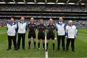 6 September 2015; Match referee Paud O'Dwyer with linesmen John keenan and Justin Heffernan and his umpires John Kelly, Paul Treacy, Tommy Fitzharris and Gerry O'Neill before the game. Electric Ireland GAA Hurling All-Ireland Minor Championship Final, Galway v Tipperary, Croke Park, Dublin. Picture credit: Ray McManus / SPORTSFILE