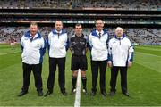 6 September 2015; Match referee Paud O'Dwyer and his umpires John Kelly, Paul Treacy, Tommy Fitzharris and Gerry O'Neill before the game. Electric Ireland GAA Hurling All-Ireland Minor Championship Final, Galway v Tipperary, Croke Park, Dublin. Picture credit: Ray McManus / SPORTSFILE