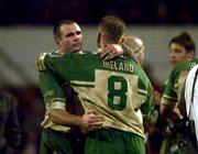 11November 2000; Ireland's Chris Joynt and team Captain No8 Terry O'Connor at the end of the game. England v Ireland, Rugby League World Cup, Headingley, Leeds, England. Picture credit; Matt Browne/SPORTSFILE *EDI*