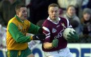 19 November 2000; Liam Moffatt, Crossmolina under pressure from John Lardner, Corofin.AIB Bank Connacht Club Football Championship Final at St Tiernan's Park, Crossmolina, Co Mayo. Crossmolina v Corofin. Picture credit; Ray McManus/SPORTSFILE *EDI*