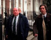 27 November 2000; FAI National Council members John Byrne, Galway Utd., left, and John Delaney, Waterford Utd., arrive for a meeting at the FAI Headquarters, Merrion Square, Dublin. Picture credit; David Maher/SPORTSFILE *EDI*