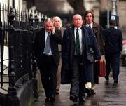 27 November 2000; FAI National Council members Joe Colwell, Shamrock Rovers, front left, John Byrne, Galway Utd., front right, Roy Gallagher, Sligo Rovers, back left and John Delaney, Waterford Utd., back right arrive for a meeting at the FAI Headquarters, Merrion Square, Dublin. Picture credit; David Maher/SPORTSFILE *EDI*