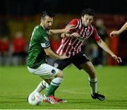11 September 2015; Liam Miller, Cork City, in action against Barry McNamee, Derry City. Irish Daily Mail FAI Senior Cup, Quarter-Final, Derry City v Cork City, Brandywell Stadium, Derry. Picture credit: Oliver McVeigh / SPORTSFILE